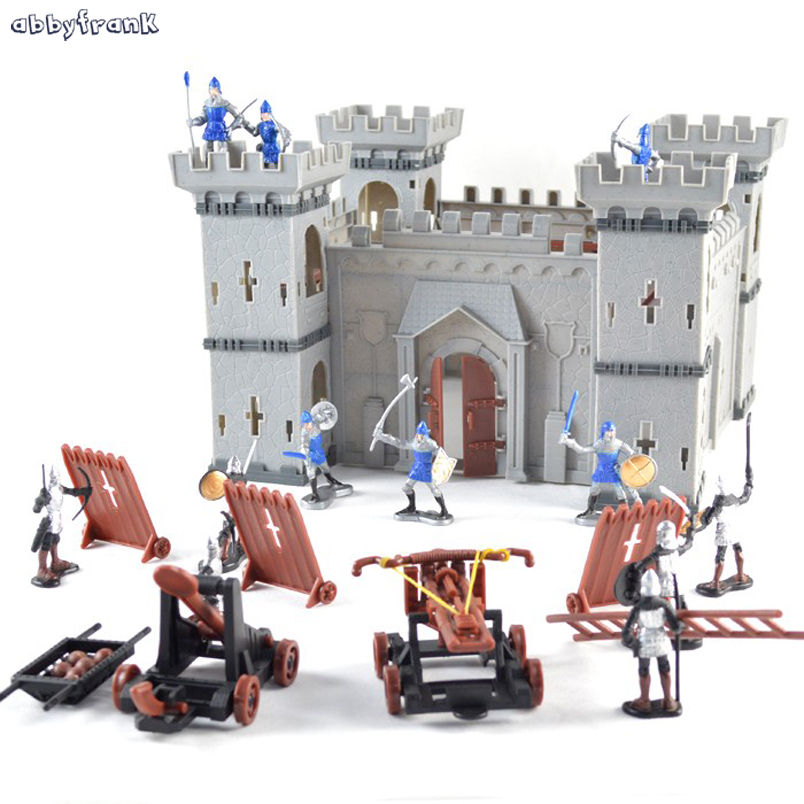 Abbyfrank Mediaeval Castle Soldiers Model War Military Knights Plastics Figures Toy Assembled Building Block DIY Toy For Boys ancient knight 28pcs set soldiers and horses medieval model toy soldiers figures