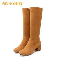 2019 new winter women knee high boots warm plush lining middle heels zip ladies sexy boots brown women shoes big size 34 43
