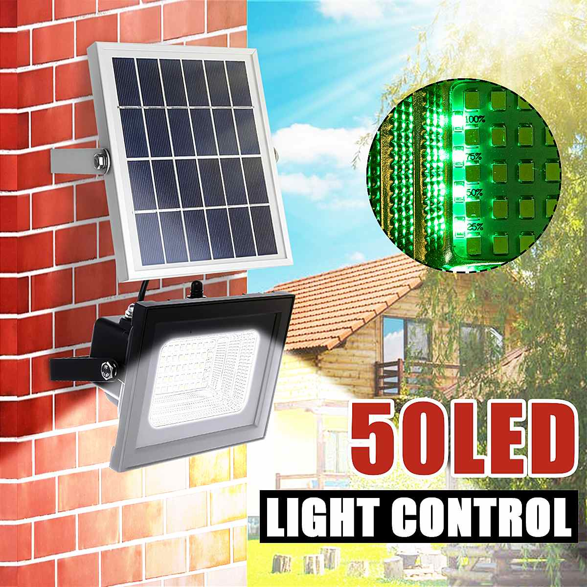 Solar Powered Flood Lights 25W 50leds Outdoor Lawn Landscape Lamps Waterproof Wall Lamps Floodlight +Remote Control With Blacket