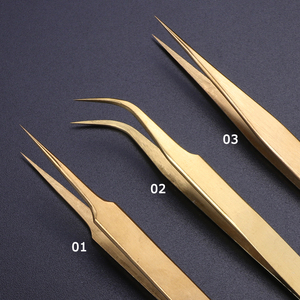 Image 2 - STZ 3pcs Straight+Curved Tweezers Set Clip For Eyelashes Lash Extension Curler Lamination Golden Make up Nail Accessory G01 03