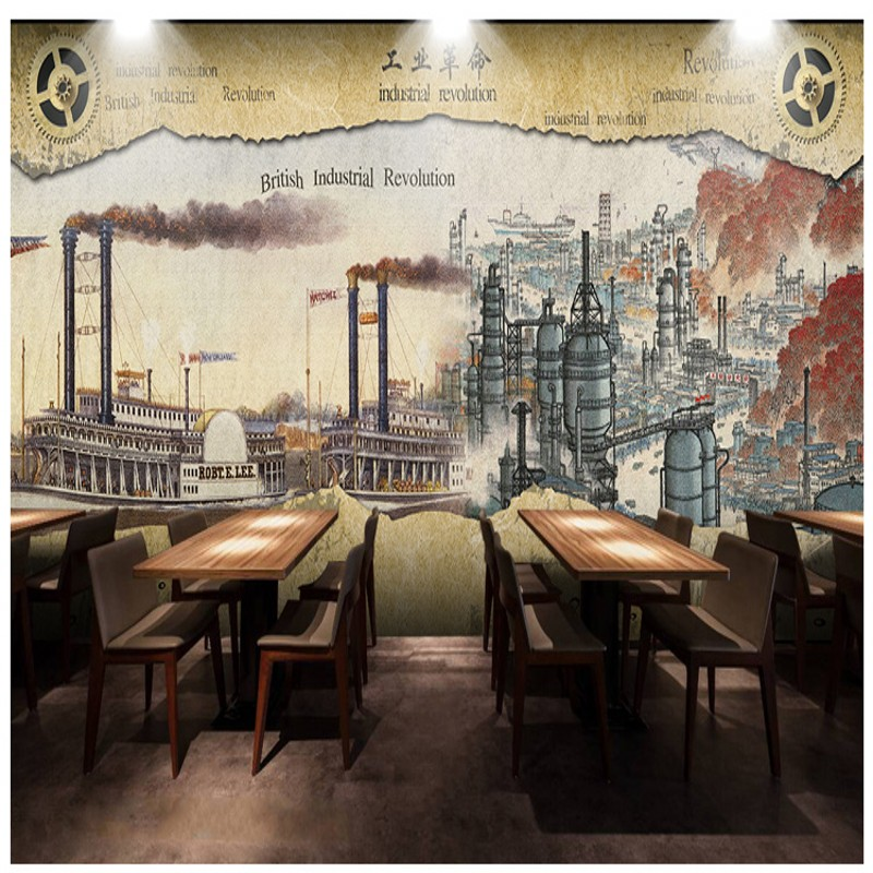 Photo wallpaper british nostalgic industrial style retro - Living room cafe menu philadelphia ...