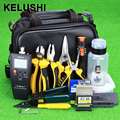 KELUSHI 27pcs FTTH Optical Fiber Termination Tool Kit with10mW Visual Fault Locator Optical Power Meter and FC-6S Fiber Cleaver