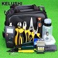 With10mW KELUSHI 27 pcs Kit de Ferramentas De Terminação de Fibra Óptica FTTH Medidor de Potência Óptica Localizador Visual de Falhas e FC-6S Fiber Cleaver