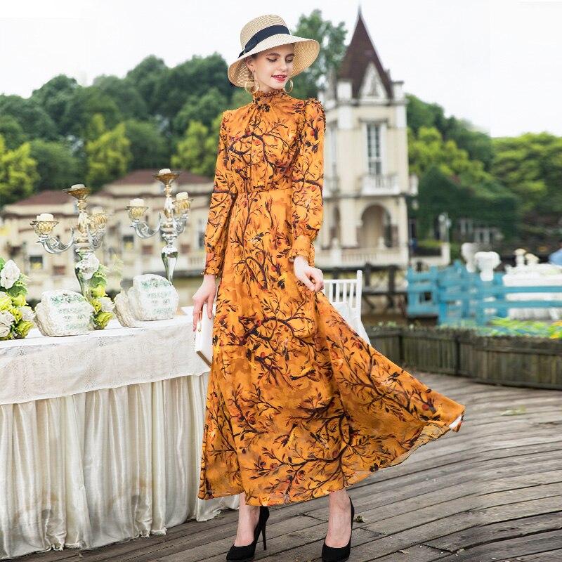 Lange Mouw Maxi Jurk 2018 Herfst Modieuze Vrouwen Ruches Kraag Elegante Bloemenprint Lange Jurk Geel Vestidos Plus Size - 3