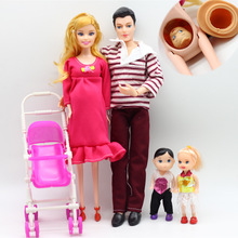 Dolls family toys set little girl + boy pregnant mother father small cart happy kit children toy