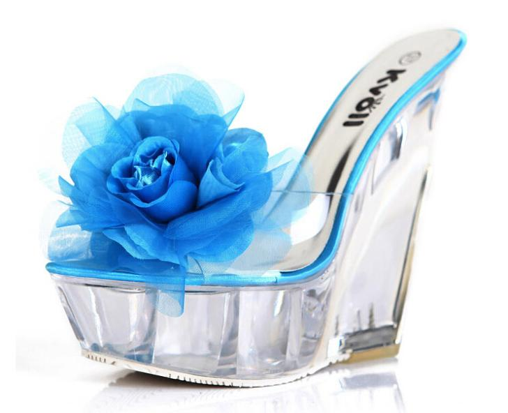 Shoes Women Sandal Shoes Woman Sandals New 2018 Transparent Kvoll Ultra High Heels Slippers Shaped Resin Flower Womens Wedges Shoes