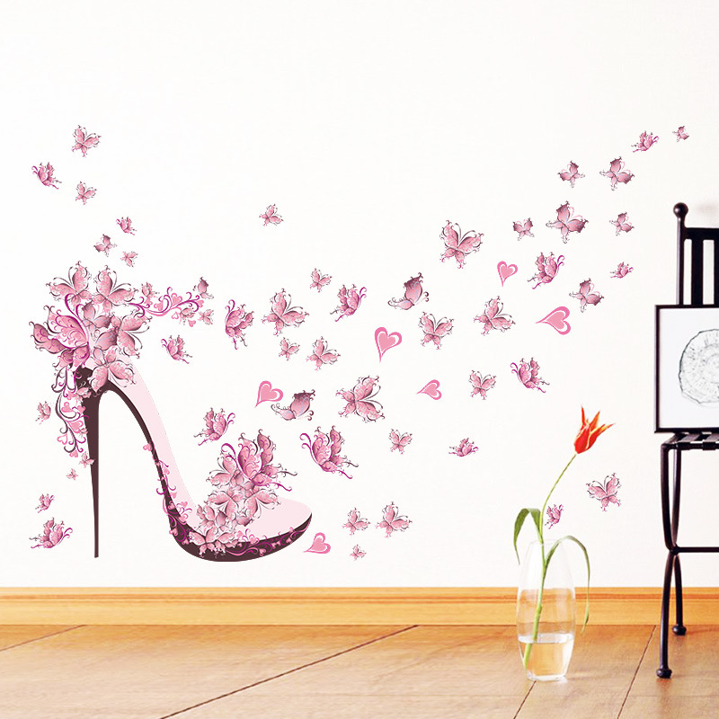 Pink Butterfly High Heels Wall Sticker For Living Room Girl's Room Background Decorations Decals Mural Art Stickers On The Wall