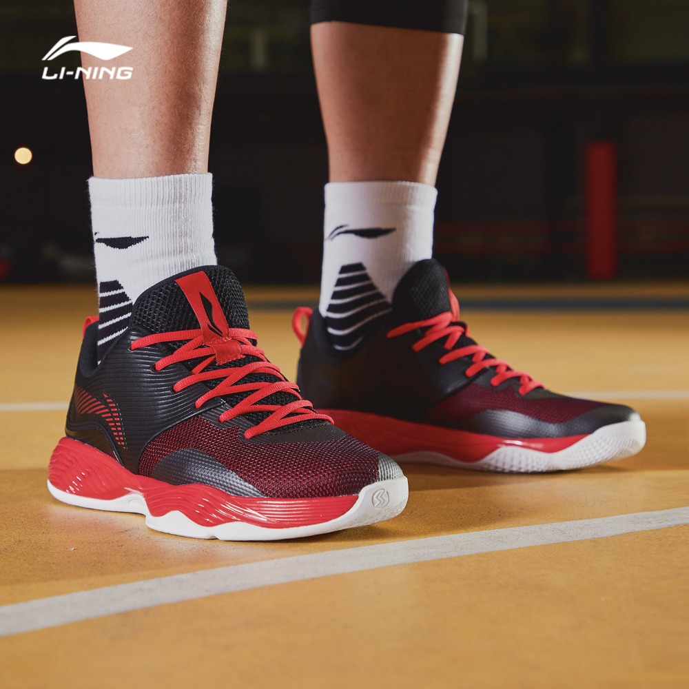 Li Ning Men SHADOW II On Court Basketball Shoes Wearable Support Medium Cut LiNing Sport Shoes