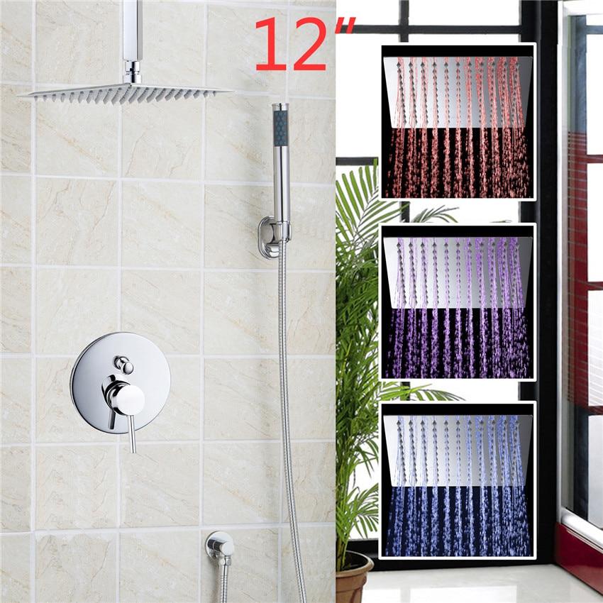 YANKSMART Concealed Shower Set 3 Colors LEDLED Square Rain 12 Shower Head Wall  Mounted  Shower Sprayer Concealed Shower Set yanksmart bath