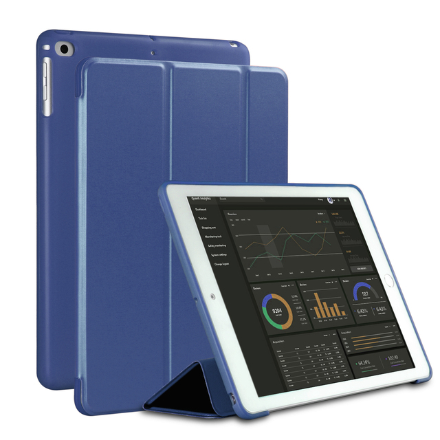 Case for New iPad 9.7 inch 2017 2018 Air 1 Air 2  Funda Soft silicone bottom Back PU Leather Smart Cover Auto Sleep 2