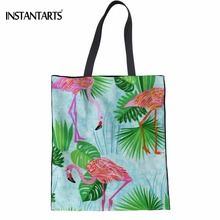 INSTANTARTS Casual Green Tropical Leaf Flamingos 3D Printing Woman Cotton Shopping Bags Large Reusable Eco Bags Lady Grocery Bag