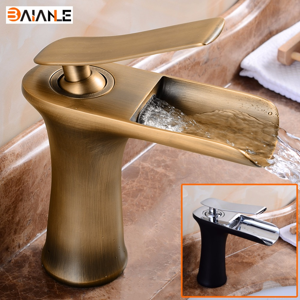 Brass Basin Faucet Waterfall Spout Single Handle Bathroom Sink Vessel Mixer Tap Deck Mounted waterfall spout basin sink faucet golden finish bathroom mixer tap solid brass single handle with hole cover plate
