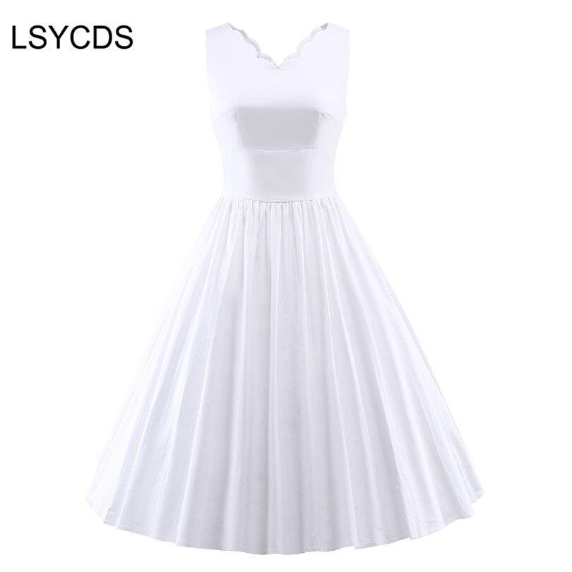 2018 Vintagae 50s White Dress V Neck Sleeveless Casual Retro Party Robe Rockabilly Audrey Hepburn Plus Size Black Dress ED-A254