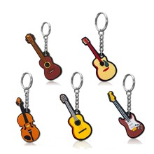 New Fashion Guitar Keychain Porte Cles PVC Mini Musical Instrument Violin Key Chains for Women Men Pendant Bag Jewelry Kids Toys(China)