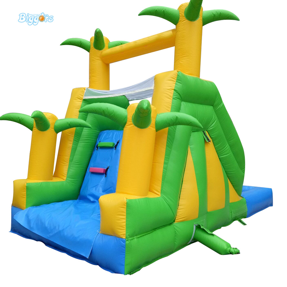 Palm Tree Safety Climbing Stair Inflatable Slide With Pool Inflatable Water Slide For Kids And Adults commercial inflatable water slide with pool made of pvc tarpaulin from guangzhou inflatable manufacturer