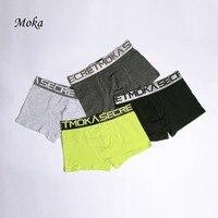 Men Underwear Cotton Boxers 4PCS Solid Black Panties Male Boxer Shorts Calvinfully Hombre Cueca Boxers Calzoncillos