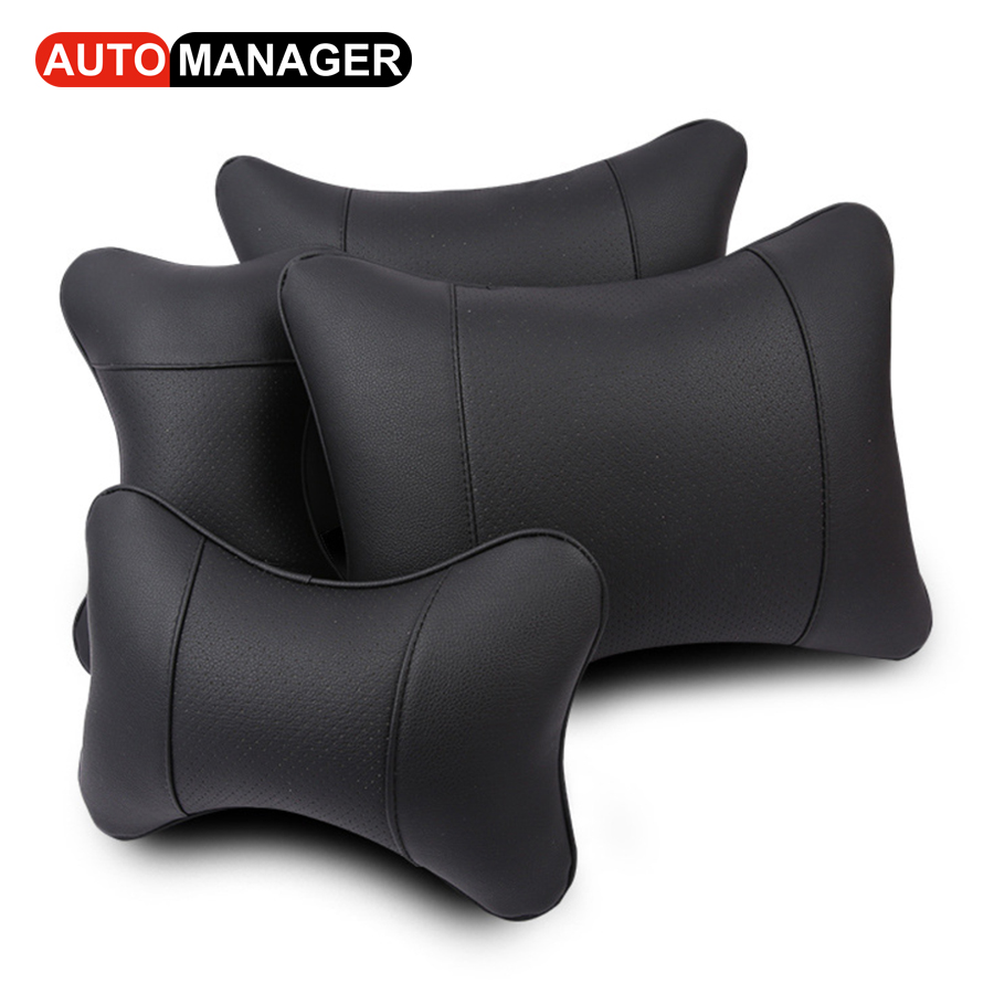 Brand New Car Neck Pillow Auto Head Rest Support Cushion  amp  Lumbar Support Breathable Leather Neck Rest Head Restraint