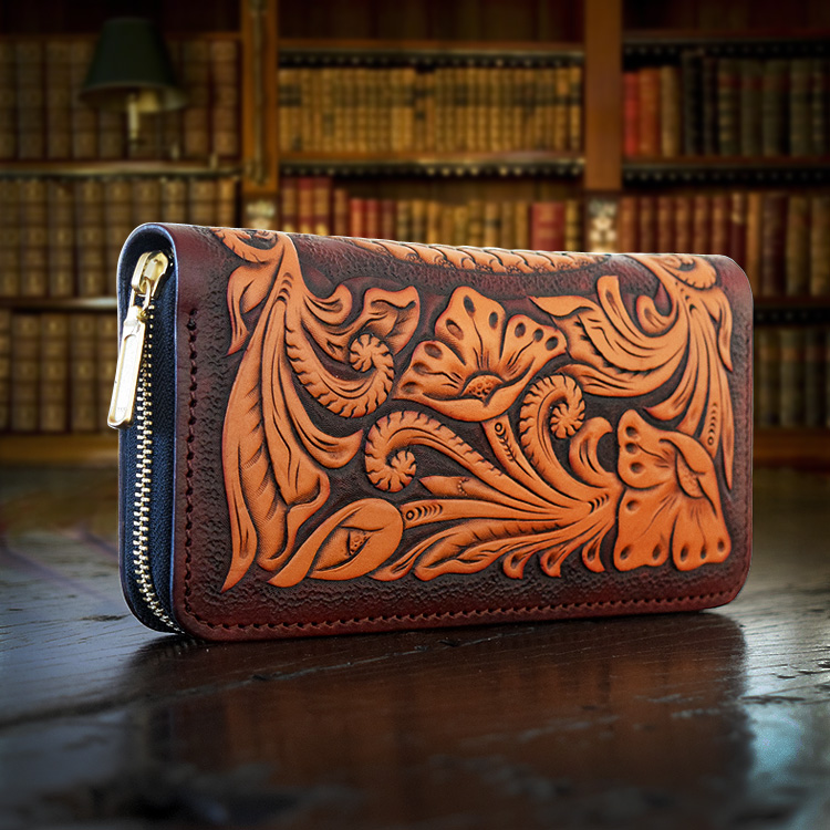 OLG.YAT handmade wallet women purse Arabesque bag Italian Vegetable tanned leather wallets long zipper cowhide handbag retro arabesque arabesque ix time to say goodbye deluxe edition
