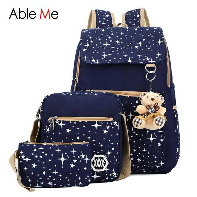 New 3pcs/set Children's Backpacks Women Shoulder Bag High Quality Backpack Star Printing Canvas School Bags for Teenager Girls
