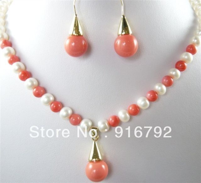 Free shipping fashion jewellery white freshwater pearlpink free shipping fashion jewellery white freshwater pearlpink coral pendant necklace earring set mozeypictures Image collections