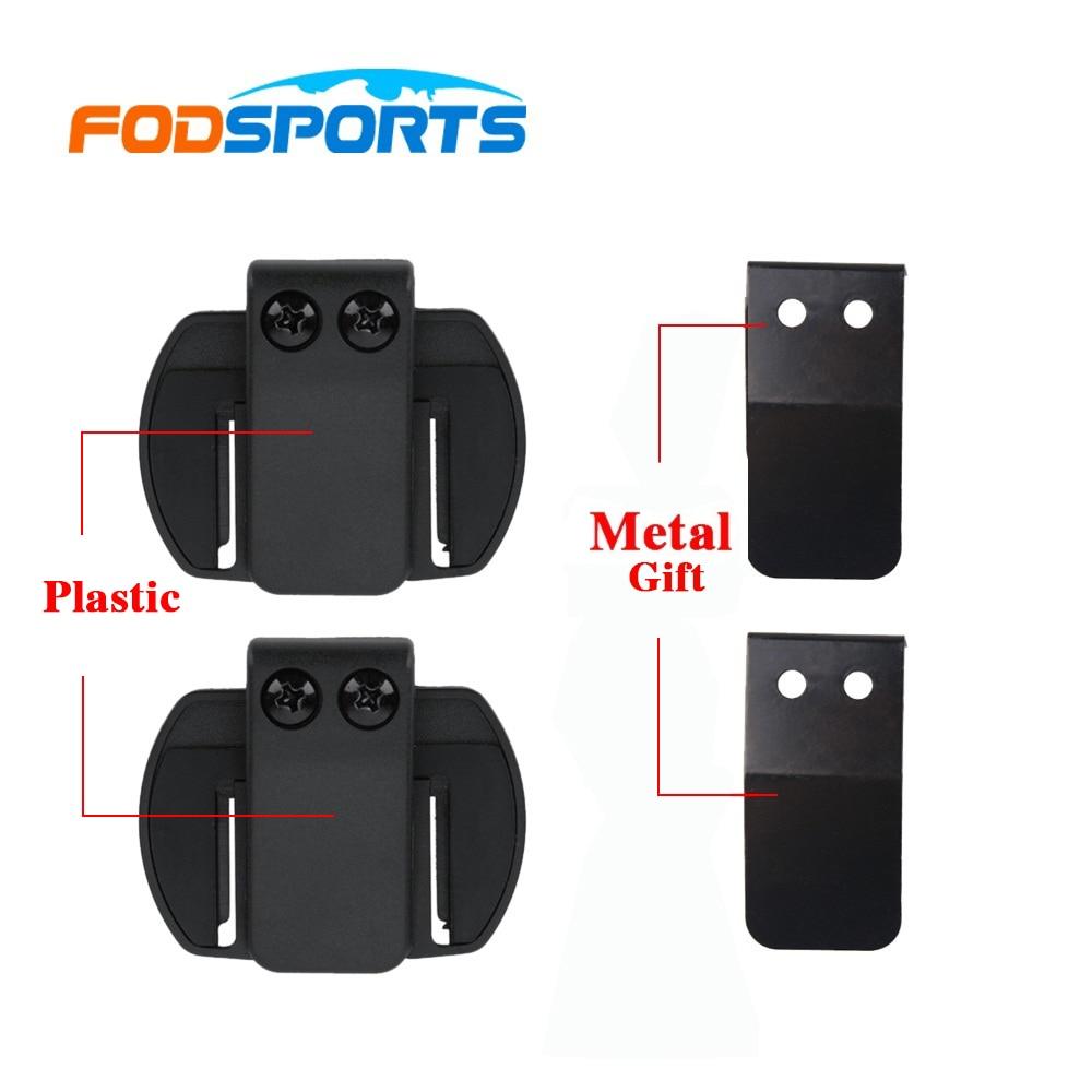 2 pçs fodsports v6 v4 capacete fone de ouvido clipe motocicleta capacete intercom clipe motocicleta bluetooth intercom suporte acessórios