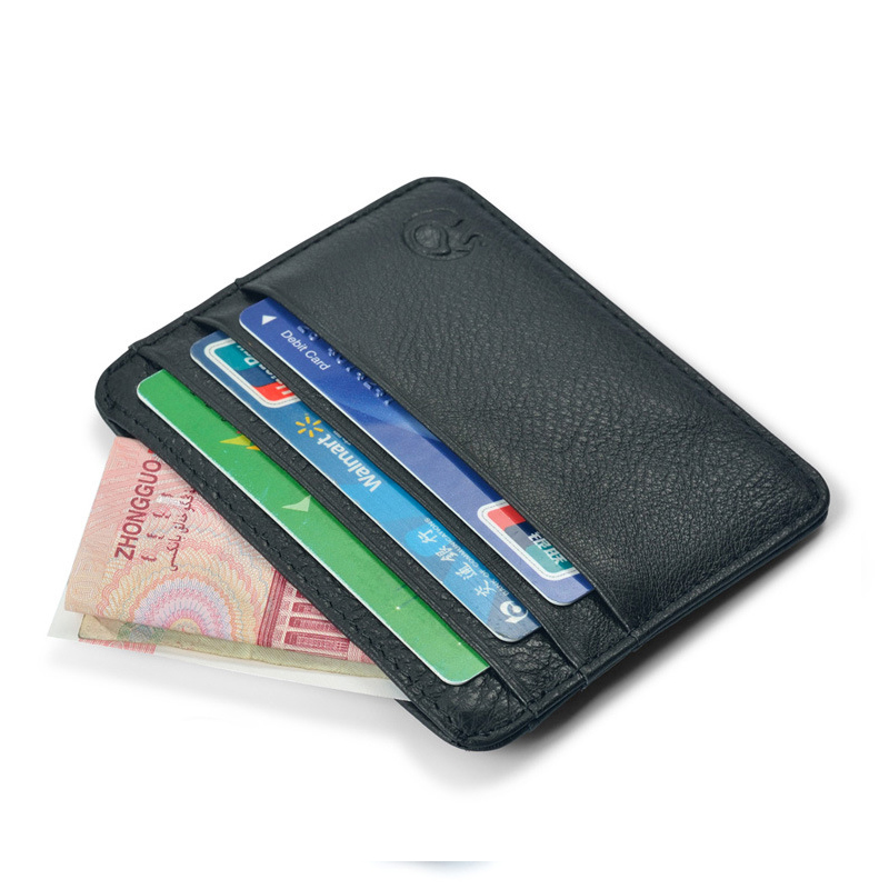 Leather Credit ID Card Holder Men Slim Mini Wallet Male Genuine Leather Purse Bag Pouch Cards Cover Case Wholesale Price