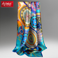Chinese 100% Pure Silk Scarves Echarpes Foulard Bandana Scarf and Wraps Luxury Brand Shawl Female Wraps Hijabs Silk Square Scarf