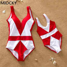 Family Swimwear Mother Daughter Swimsuit 2019 Cute Bikini Sets Red Striped One Piece Summer Holiday Bathing Suit E0196