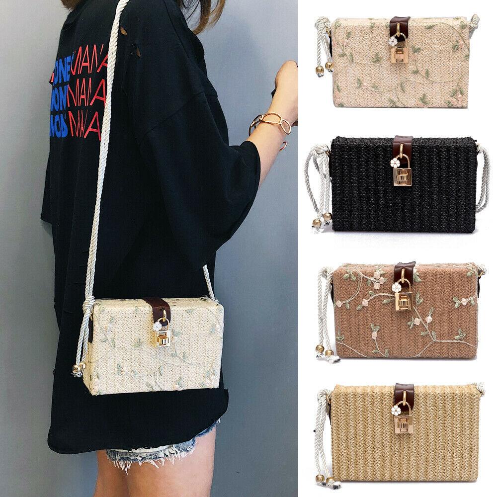 2019 Newest Hot Beach Rectangle Box Bag Rattan Straw Woven Floral Gold Lock Flap Crossbody Bags Bohemia Handbag Shoulder Bag