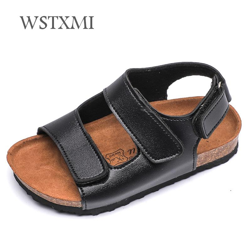 Summer Children Cork Sandals For Boys Girls Beach Sandals Non-slip Soft Leather Slippers Shoes Kids Outdoor Fashion Sport Sandal