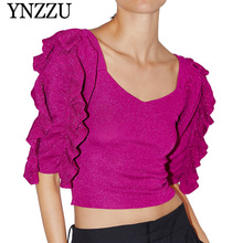 YNZZU 2019 Autumn Women Ruffled sweater Square collar metallic thread female knitted Loose casual Pullover jumper YT660