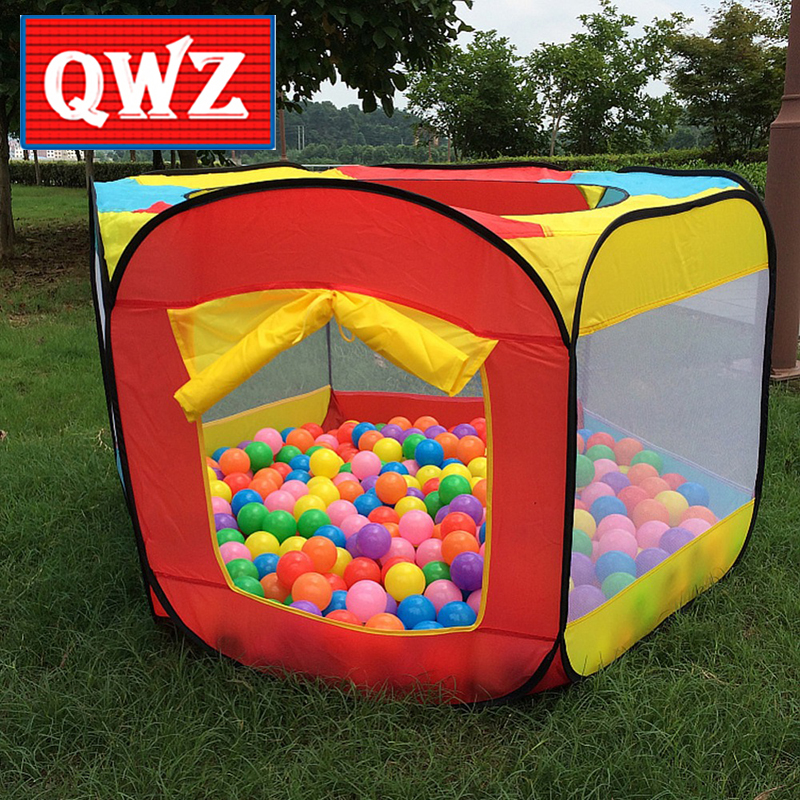 QWZ Play House Indoor Six sides tent Outdoor Easy Folding Ocean Ball Pool Pit Game Tent Play Hut Girls Garden Kids Toy Tent
