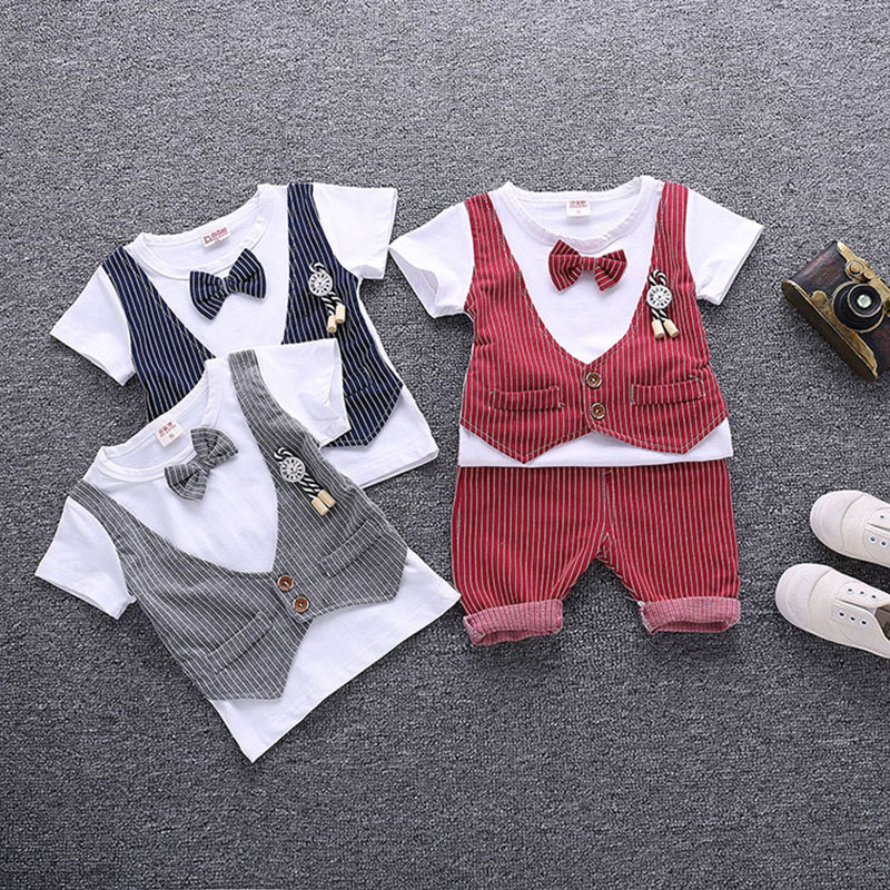 Fashion Baby Boys Clothes Set short Sleeve strip Gentleman Suit For Boys Children Clothing Cotton Costume For Kids Suits