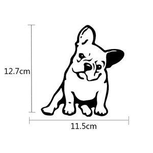 Image 3 - Buldog francuski pies winylowa tablica naścienna dekoracja okienna urocze zwierzę samochód naklejka czarny/srebrny # B1103