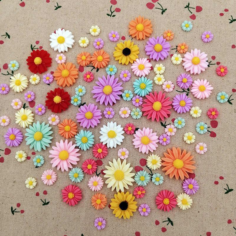 4 yardas de color mezclado lindo margarita flor bordado cinta artesanía