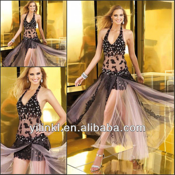 Sexy Style Halter Top Crystal See Through Skirt Black Where To Find