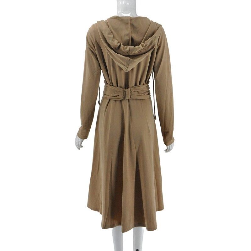 Capucha Las Moda V Sólido Vestido Primavera Con De Mujeres Cuello Manga Nueva Caqui Slim En Larga Casual Vestidos Khaki qawOx5wF