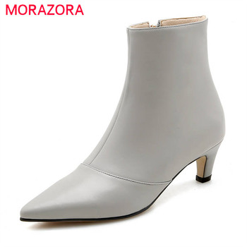 MORAZORA 2020 top qulity genuine leather boots women pointed toe warm autumn winter ankle boots sexy high heels shoes woman
