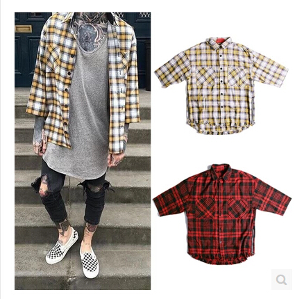 ff5dfcad0bde New Fashion Streetwear Mens Oversized Flannel Shirts 3 4 Sleeve Yellow and  Red Tartan Tee Side Zip Plaid T-Shirt HipHop