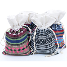 e2eb4137e5edd 6pcs/lot 4x6 inch Mexico Style Ethnic Cotton Gift Bag Double Drawstring  Jewelry Packaging Bag