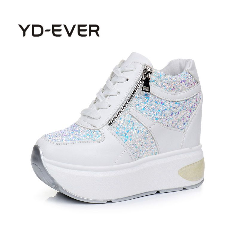 YD-EVER 2018 White Black Hidden Wedge Heels Casual Shoes Woman Platform Shoes Womens Elevator High-heels Walking Shoes Autumn
