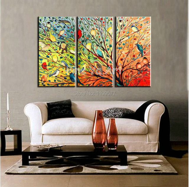 3 Piece Abstract Modern Muti Canvas Wall Art Handpainted Colorful Tree Living  Room Wall Painting Oil Part 81