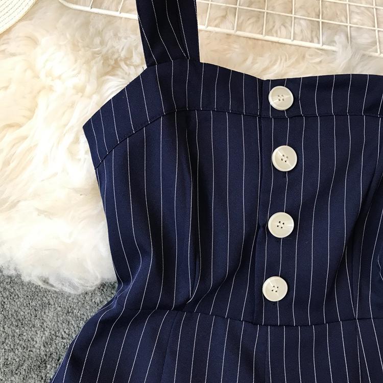 2019 Spring and Summer Korean New Stripe High Waist Open-back Jumpsuit Women Sleeveless Broad-legged Overalls G794 31