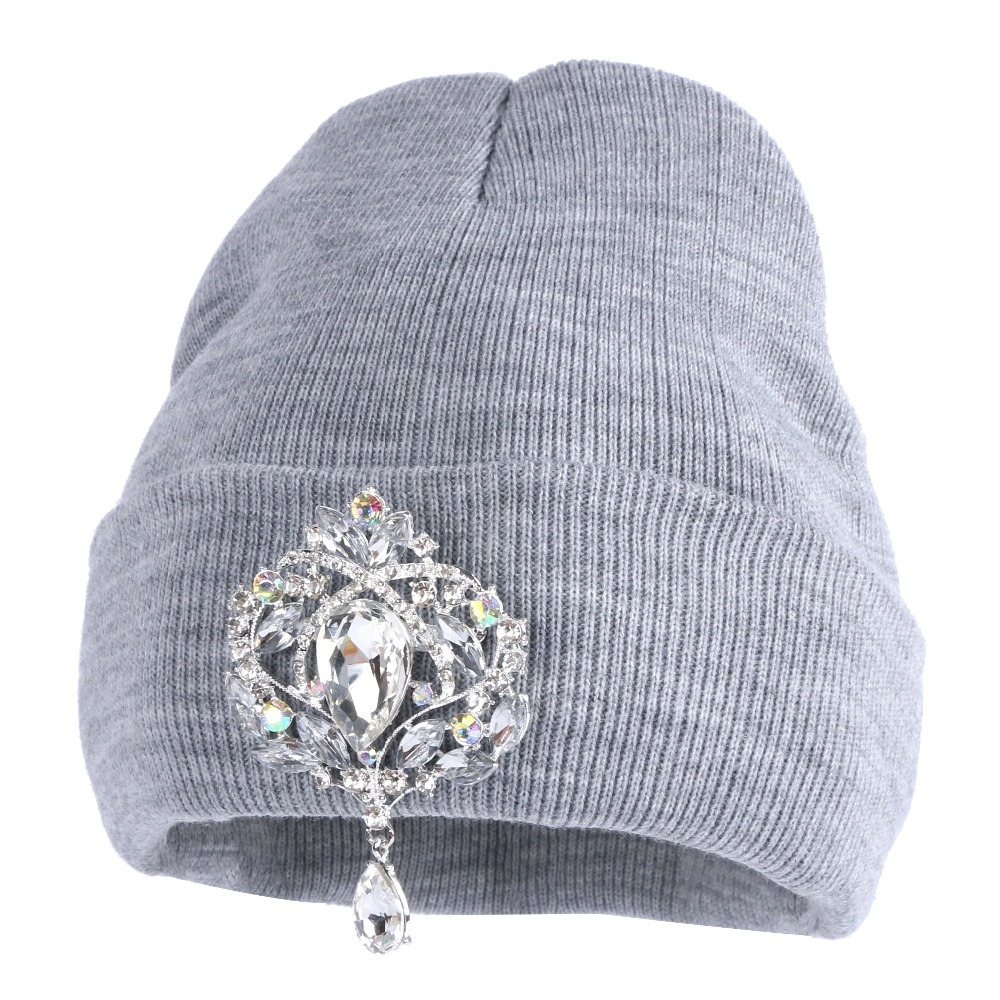 7acd3161e17 Buy new fashion women beanies winter hat bling crystal floral luxury ...