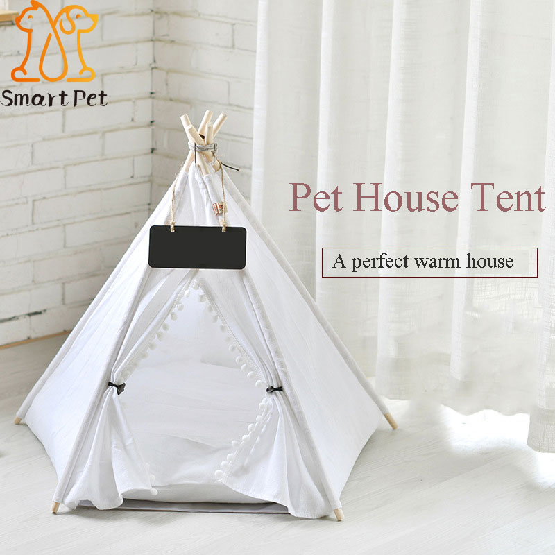 Smartpet Travel Outdoor Indoor Pet House Tent Wood <font><b>Kennel</b></font> Removable Cat <font><b>Dog</b></font> Cozy House with Mat Pet Supplies Pads image