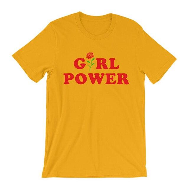 Camisa Camisa de Inspiración feminista Feminista Camiseta Girl Power Tumblr Inconformista Camisa Camisa de La Flor Se Levantó Todos Los Días GRL PWR