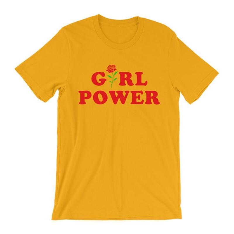 d442f90888c8 Camisa feminista Inspirado Camisa Feminista Tumblr Camisa De T Shirt Da  Menina Camisa Do Moderno Flor Rosa Todos Os Dias GRL PWR em de