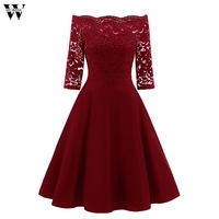Womens New Lace Formal Patchwork Wedding Party Retro Off Shoulder Polyester Dress Office Casual Party Skater Dress #A30