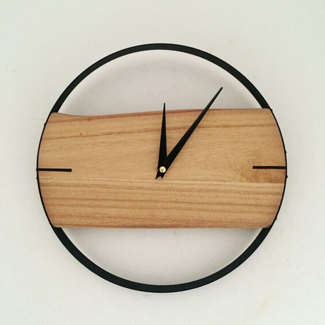 buy natural wall clock brief style wooden wall clock wooden decor large round. Black Bedroom Furniture Sets. Home Design Ideas