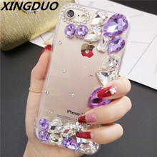 XINGDUO DIY Bling 3D Color Crystal Diamond Soft Back Phone Case Cover For Samsung Note 4 5 8 9 S8 S9 S10 Plus Lite S7Edge